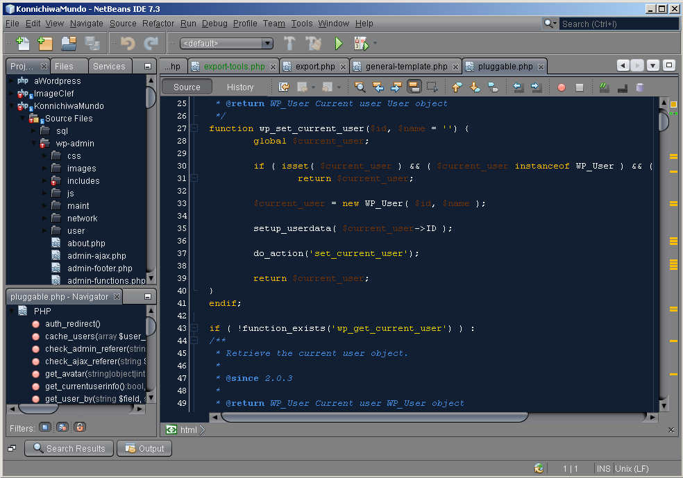 NetBeans con Dark Nimbus y Norway Today aplicados