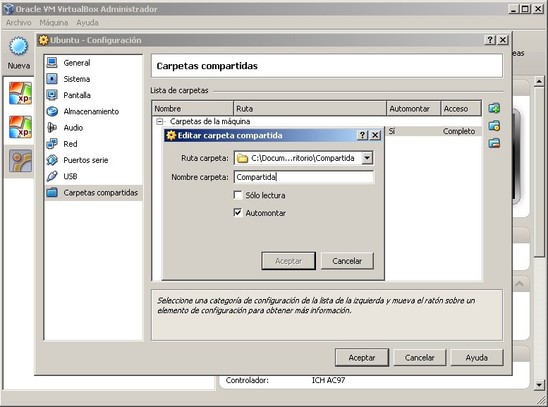 Configuración de carpeta compartida in VirtualBox